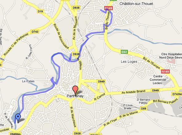 Thouet Walk map